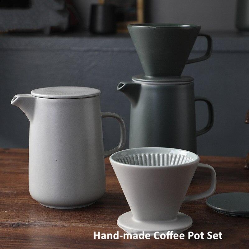 Ensemble de cafetière en céramique fait à la main   Cafetière, théière, ménage, filtre, tasse à café, Type goutte deau V60 expresso percolateur