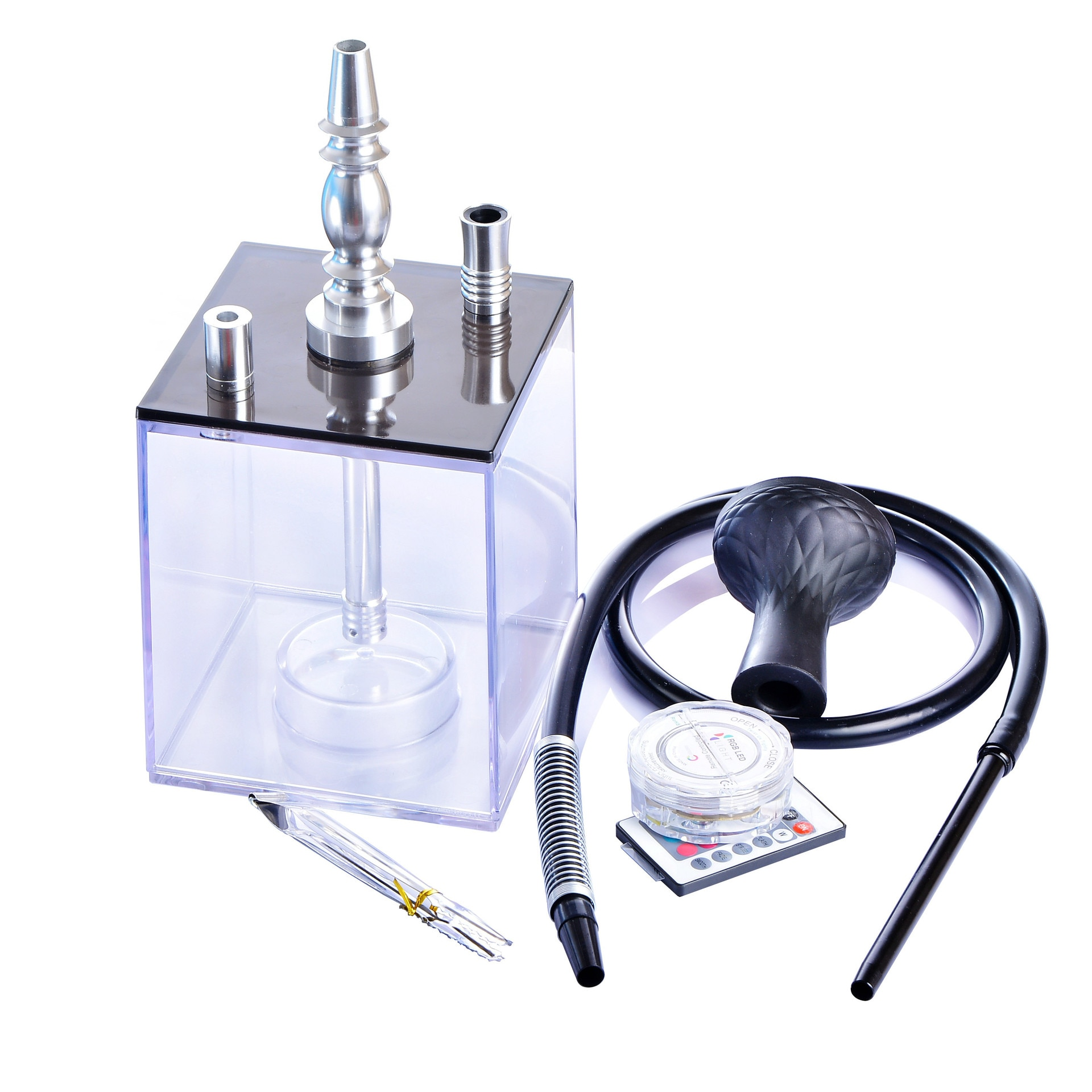 Upscale Transparent Acrylic Hookah Set With LED Light Shisha Water Pipe Include Silicone Bowl Clip Pipe Hose enlarge