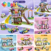 doki city building blocks secret friends tree house girls diy stacking bricks toys for children with figures dolls and cars