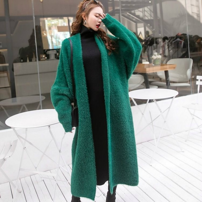 New Autumn Spring Fashion Long Cardigan for Women Knitted Sweater Open Front Fall Outfits Knee Length Mohair enlarge