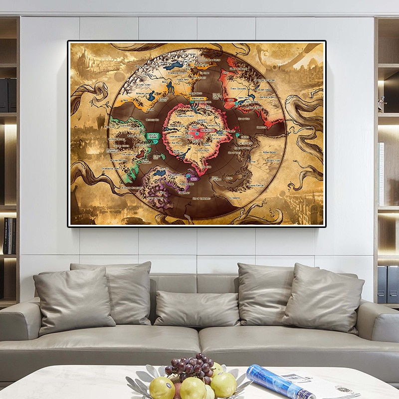 225*150cm Large Vintage Map Non-woven Canvas Painting Art Poster Wall Sticker Card Living Room Home Decoration