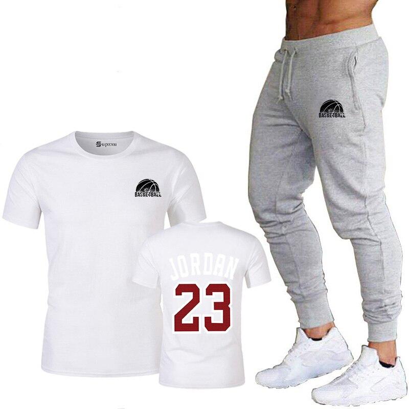 Conjunto de 2 piezas, ropa de hombre Jordan 23, camiseta, pantalones, traje de verano, ropa deportiva, ropa deportiva para hombre, ropa deportiva, ropa de baloncesto