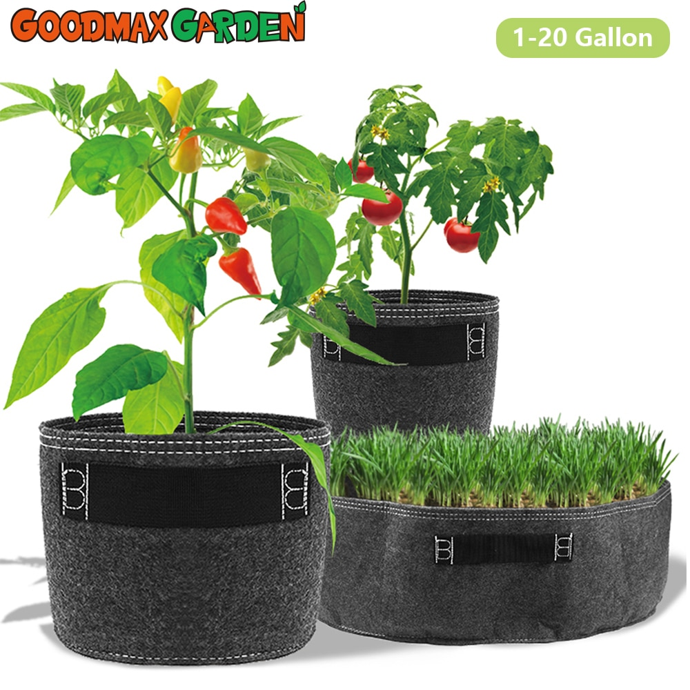 1 2 3 5 7 gallon green plant grow bag non woven fabric vegetable trees flower container cup nursery garden supplies flowerpot 1-20 Gallon Plant Pots Flower Grow Bags Garden Tools Non-woven Fabric Pots for Plants  for Garden and Vegetable Patch