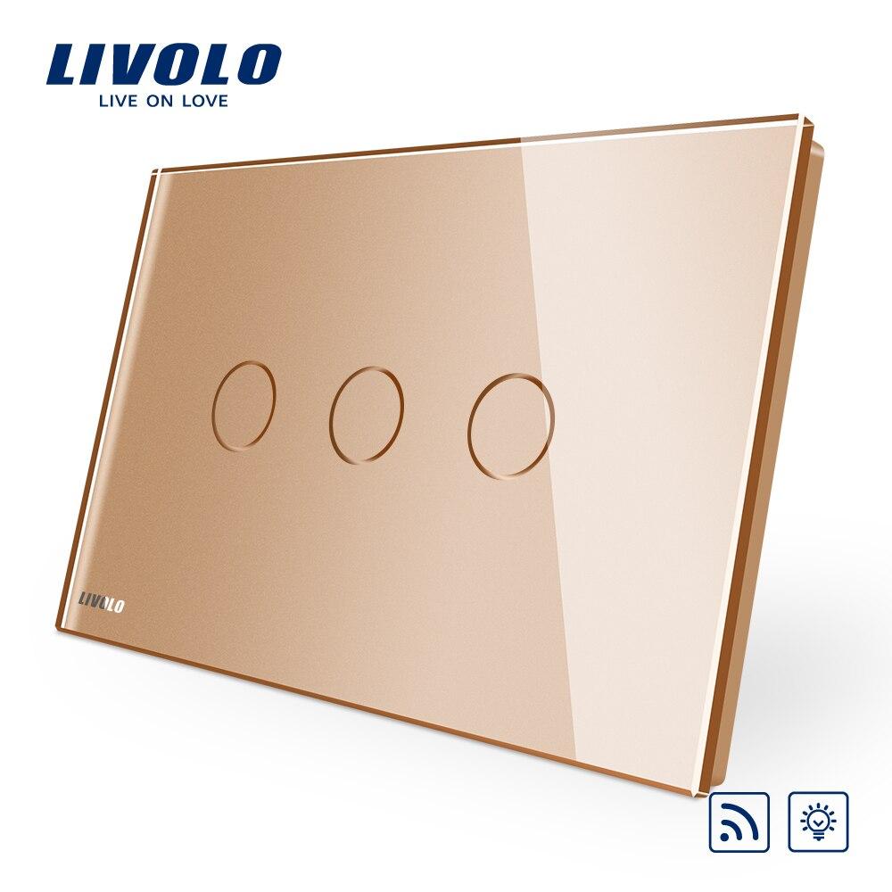 Livolo AU الولايات المتحدة القياسية الذهب والزجاج والكريستال لوحة ، 110 ~ 250 فولت ، اللاسلكية التحكم عن بعد الستار مفاتيح ، الستار باهتة مفتاح بالت...