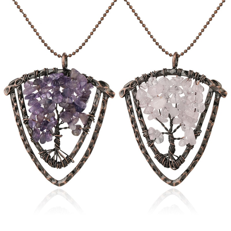 7 чакр, ювелирное изделие ручной работы, натуральное ожерелье из каменных подвесок, проволочный Браслет «Древо жизни», Винтажные бусины с бр...