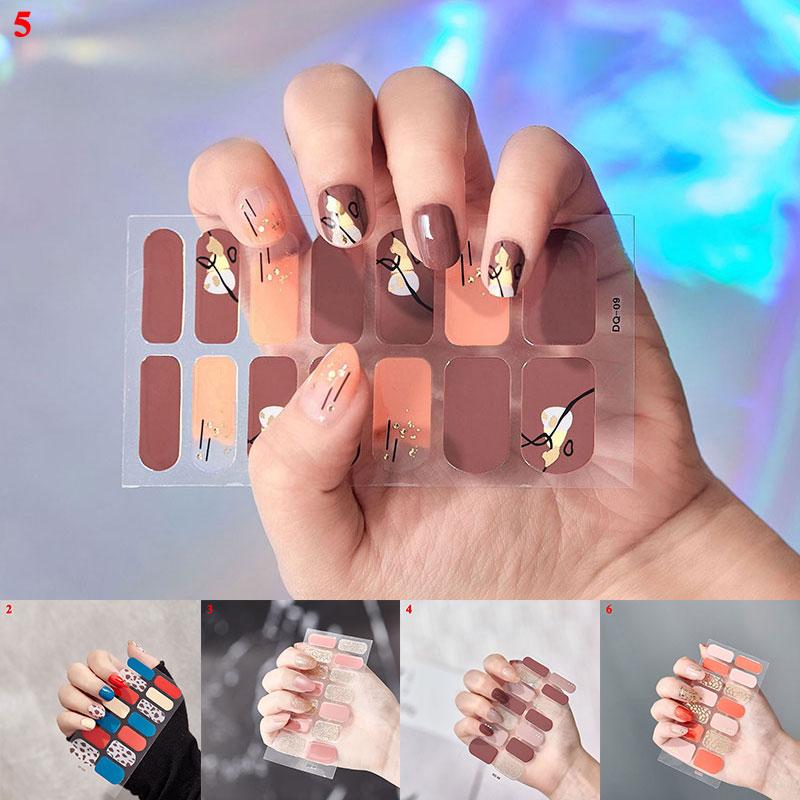 1sheet Glitter Gradient Color Nail Stickers Nail Wraps Full Cover Nail Polish Sticker DIY Self-Adhesive Nail Art Decoration