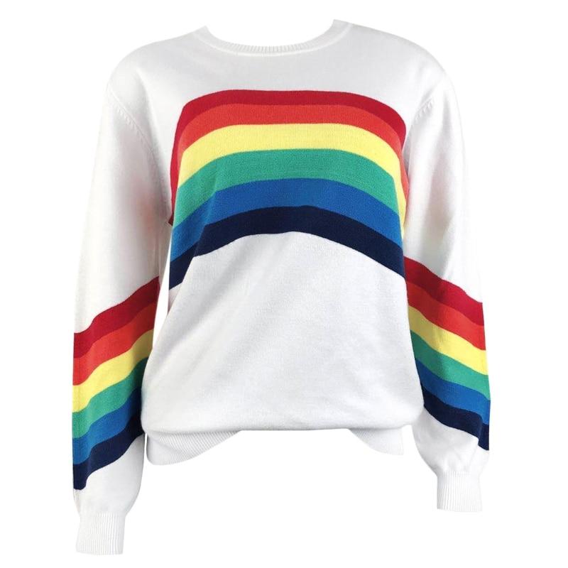 Women Long Sleeve Crew Neck Sweater Rainbow Striped Loose Pullover Knitwear Tops enlarge