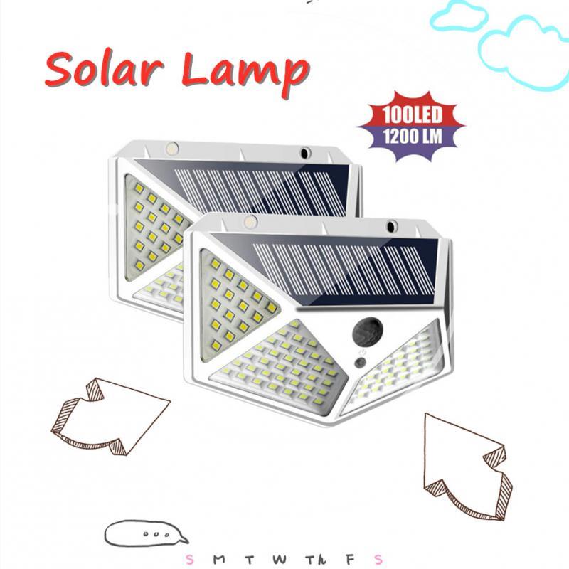 1/2/4 Pcs 100 LED Solar Power Wall Light PIR Motion Sensor Waterproof White Outdoor Street Lights For Garden Decoration