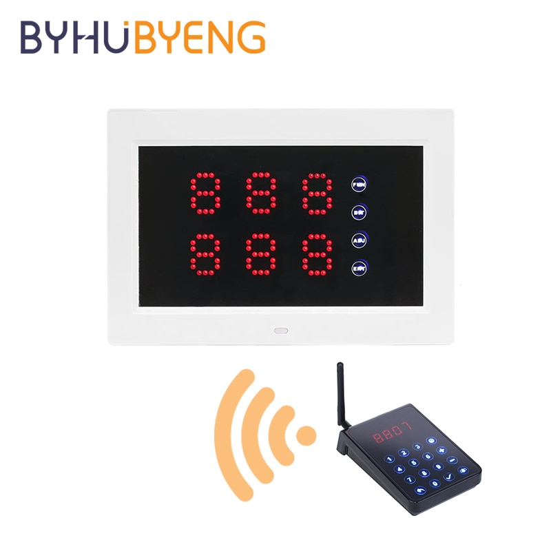 BYHUBYENG Queue 433mhz Repeater Wireless Service Waiter Call Receiver Paging Pager Nurse Display Calling System Watch Button