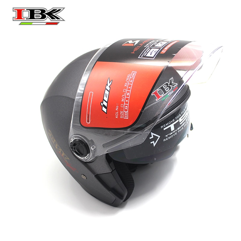 IBK Motorcycle Double Visor Helmet 3/4 Face Anti-UV Scooter Electric Bicycle Casco grey Helmet IBK-705 enlarge