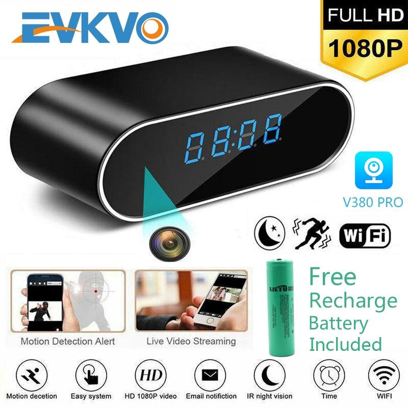 EVKVO 1080P HD Clock Camera WIFI Control Concealed IR Night View Alarm Camcorder PK Z10 Digital Cloc