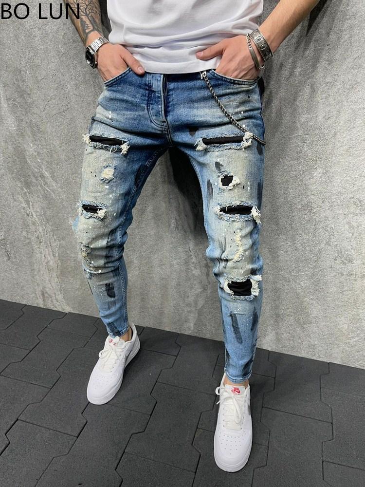 Новинка 2021, мужские рваные джинсы, Мужские Черные Лоскутные штаны, уличные джинсы, хип-хоп, байкерские узкие брюки-карандаш, S-3XL