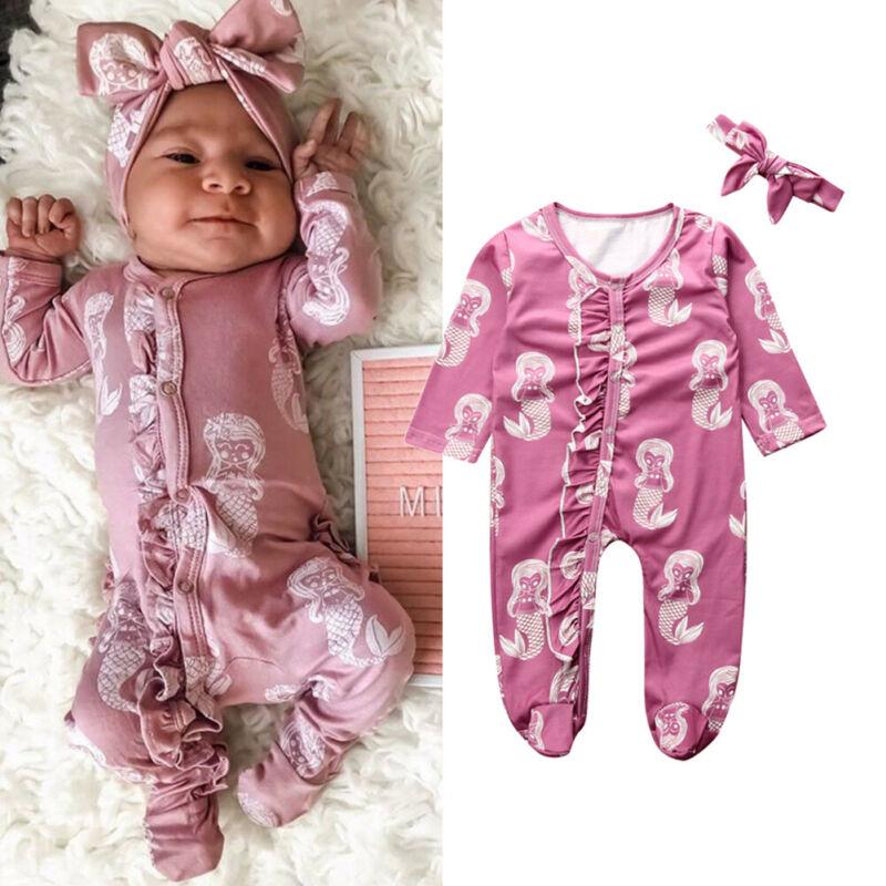 2020 ropa de bebé recién nacido niña Impresión de sirena bebé mameluco urdimbre pie mono + diadema manga botón ropa de algodón 2 uds 0-18M
