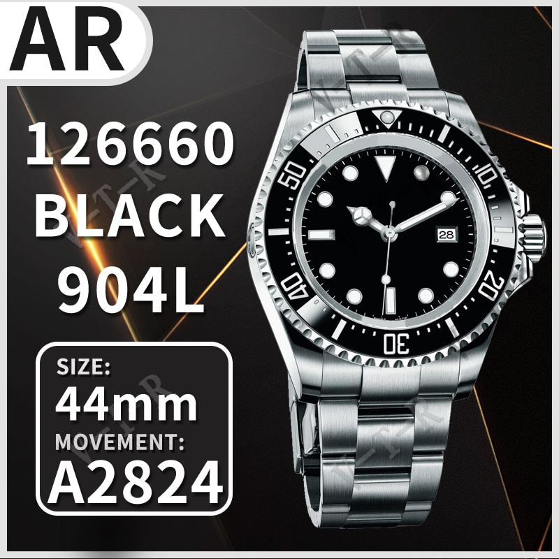Case e Pulseira Relógio Mecânico Automático Masculino Sea-dweller 126660 Preto Cerâmica Arf 1:1 Melhor Edição 904l ss A2824 44mm