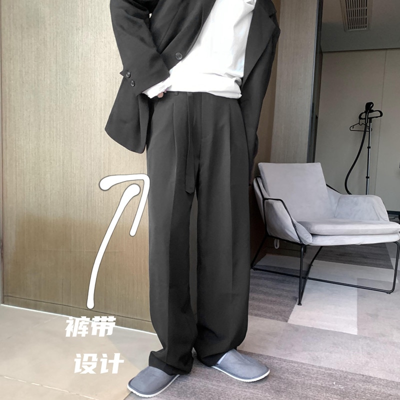 Брюки мужские костюмные, модные деловые, повседневные Прямые Штаны с широкими штанинами, в Корейском стиле, бежевые/черные