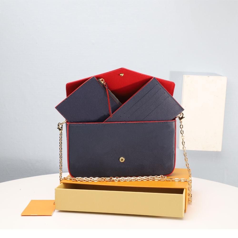 جودة عالية الكلاسيكية موضة حقائب كتف المرأة جلدية ثلاث قطع حقيبة كروسبودي سلسلة حقائب محفظة مع صندوق براثن محفظة