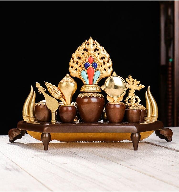Proveedor budista al por mayor de alta calidad dorado tántrico Tantra budista throne sylloge estatua de cobre de protección efectiva