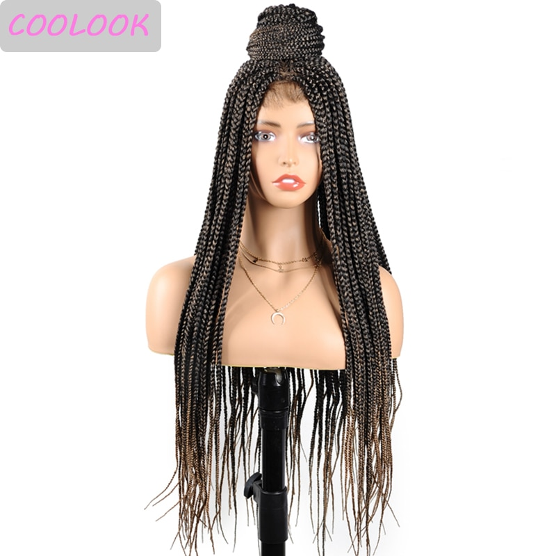 4x4 Synthetic Lace Front Wig Ombre Brown Box Braided Lace Wigs for Black Women 30 Inch Dark Red Box Braids Wigs with Baby Hair