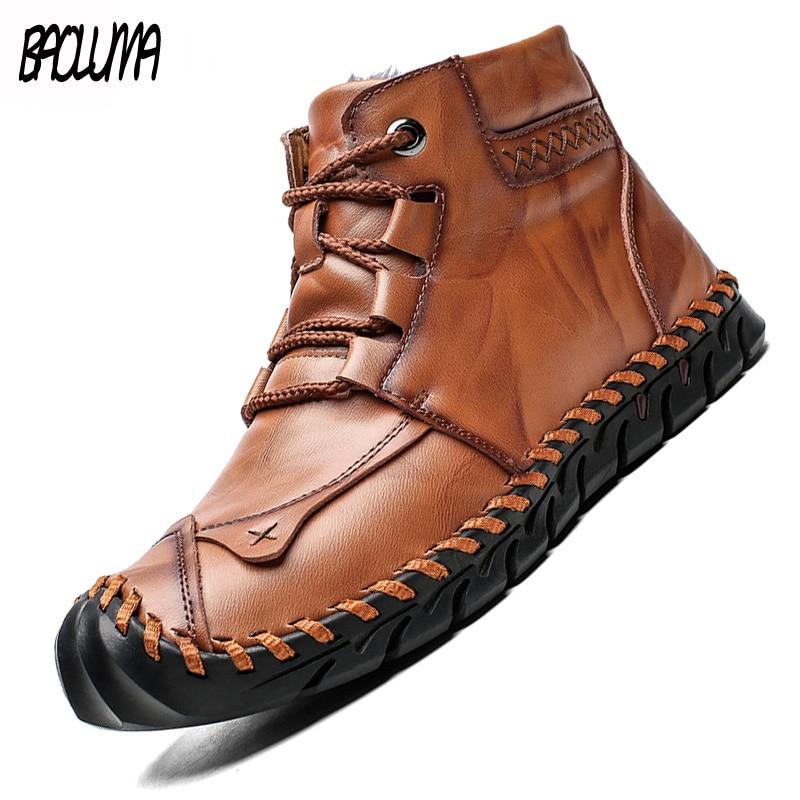 حذاء ثلج سميك دافئ للرجال ، حذاء موكاسين مقاوم للماء وغير قابل للانزلاق ، ماركة كلاسيكية ، صناعة يدوية إيطالية ، لفصل الشتاء