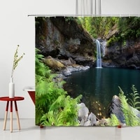 natural scenery shower curtains 3d forest waterfall cliff tropical plant landscape bathroom decor polyester washable bath screen