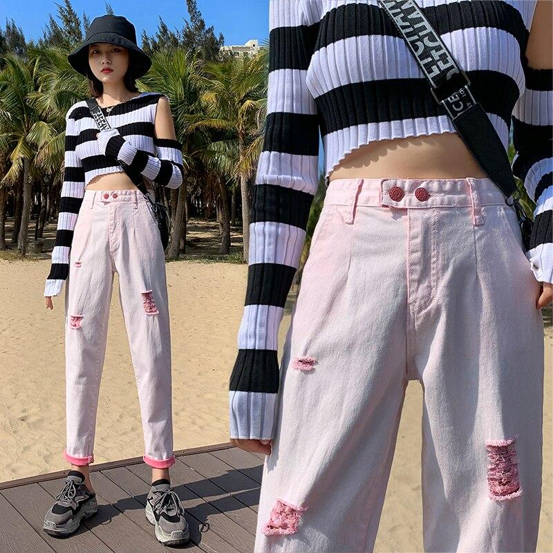 Рваные джинсы для женщин, летние джинсы, женские джинсы большого размера, женские джинсы с высокой талией, женские джинсовые брюки, женские ...