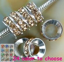 hrt2n Gift 10mm DKV Rhinestone Crystal Rondelle Spacer Beads Lot,Rhodium Plated Big Hole European Beads