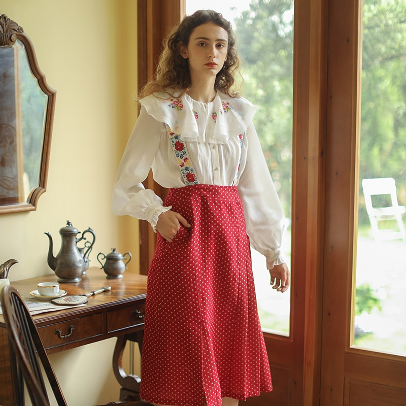 Women Pleated Skirt Spring Summer Elegant Slim Vintage Mori Girls Floral Embroidery All-match Polka