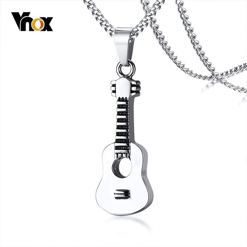 """Vnox punk guitarra pingente para mulher men cremação lembrança colar de aço inoxidável amante música presente ornamentos 24 """"curb chain"""