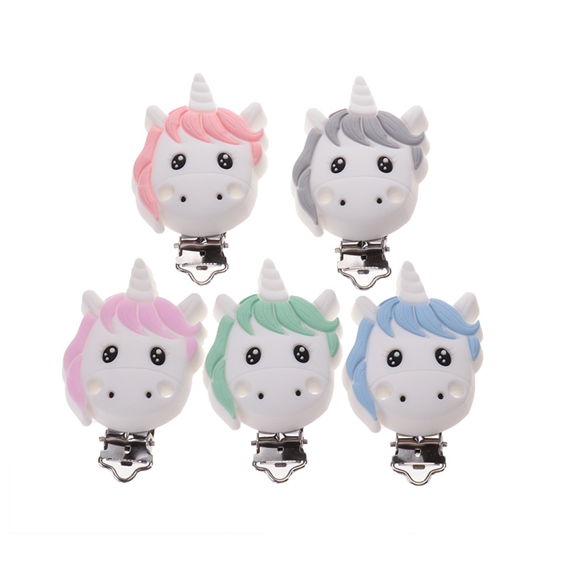 20pcs Silicone Unicorn Pacifier Clip Baby Stroller Chain Rattle Accessories Newborn Dummy Nipple Holder Soother Nursing Jewelry enlarge