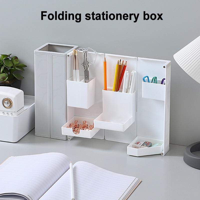Складной органайзер с несколькими отделениями, настольный держатель для ручек, компактная коробка для косметики, аксессуары для офиса, орг...