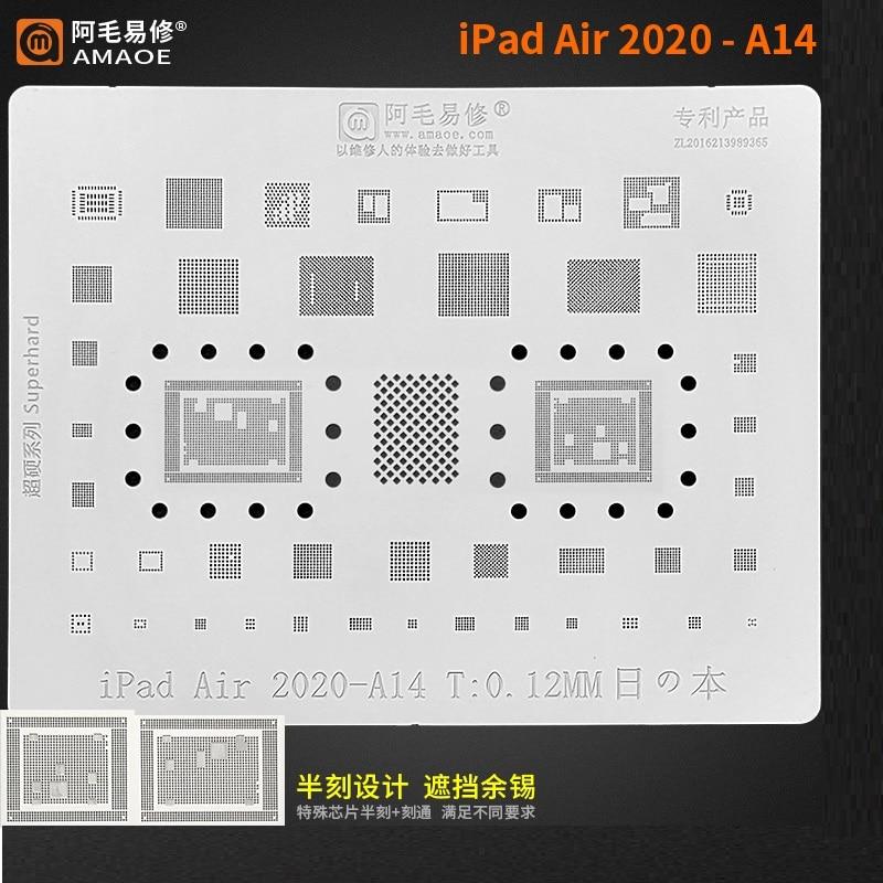 Amaoe BGA Reballing Stencil For iPad Air 2020 A14 A2324 A2325CPU RAM Nand Power Audio IC Chip Tin Plant Net Square Hole Steel
