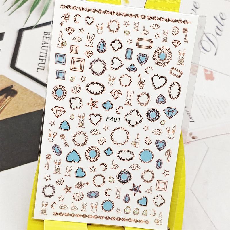 Pegatinas de uñas 3D, pegatinas de perlas de cristal Diseño de conejo, decoración de uñas, pegatinas deslizantes, accesorios de manicura, decoración de uñas