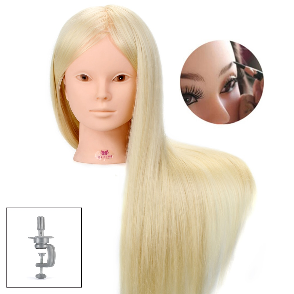 Nimmerland 60% Echte Menschliche Haar Mannequin Kopf Für Make-Up Frisuren Professionelle Praxis Dummy Puppe Köpfe Mit Weiß Blonde Haar