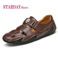 new breathable mens sandals summer genuine leather shoes classic men sandals outdoor mens sneakers wading beach sandals 38 48