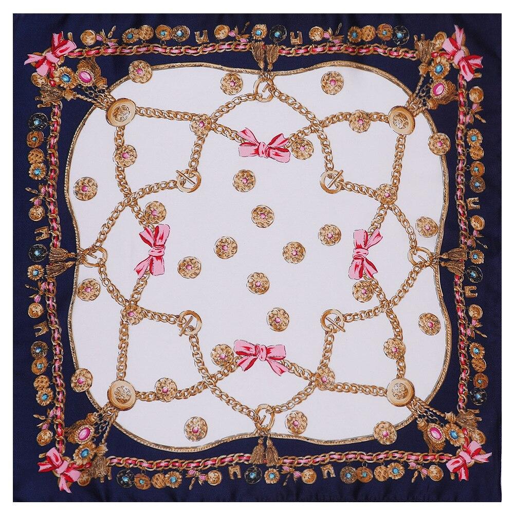 53*53cm New Arrival Square Chiffon Printing Scarf Neck Scarf Women's Hair Tie Band Wrap Handkerchief Skinny Chain pendant