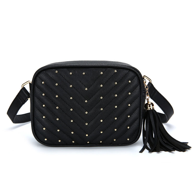New European and American style female bag pu small square bag shoulder bag small waist bag rivet chest bag