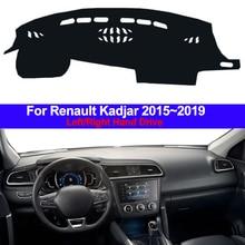 Samochód wewnętrzna Auto pokrywa deski rozdzielczej Dashmat dywan mata na deskę rozdzielczą poduszka cape parasol przeciwsłoneczny 2 warstwy dla Renault Kadjar 2016 2017 2018 2019