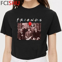It Clowns Friends Horror T Shirt Men Funny Cartoon Summer T-shirt Harajuku Pennywise Loser Club Tshirt Hip Hop Top Tees Male