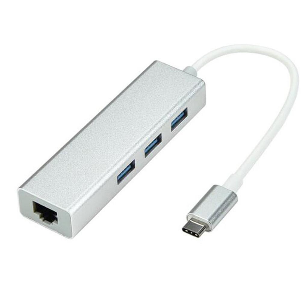 Usb 3.1 Usb-C Typ C 10/100/100 0 Mbps Gigabit Ethernet Rj45 Lan Adapter Mit 3 usb 3.0 Netzwerk Karte Für Macbook