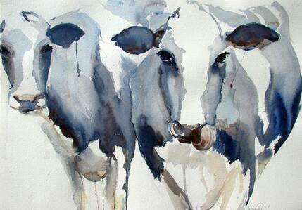 More style Animal Blue Cow Art Film Print Silk Poster Home Wall Decor 24x36inch