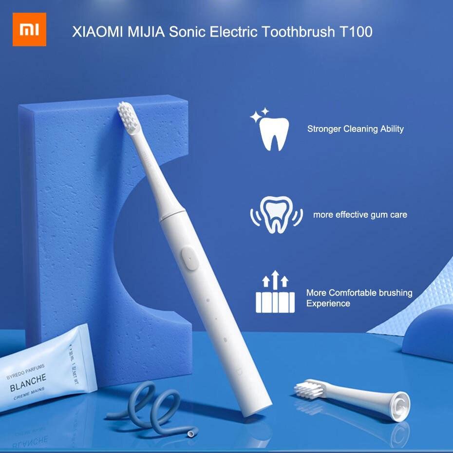 Xiaomi-cepillo de dientes eléctrico Mijia T100, cepillo de dientes sónico para adultos, recargable vía USB, resistente al agua IPX7