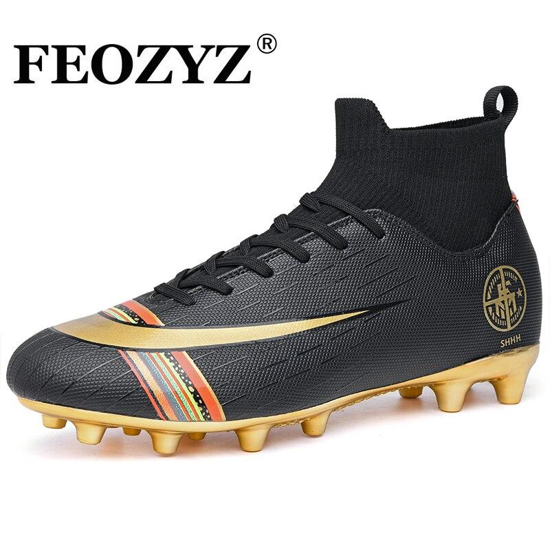 FEOZYZ De tobillo alto FG Botas De fútbol para adultos niños Gold Long espiga Soccer Shoes Chuteira Futebol Botas De fútbol
