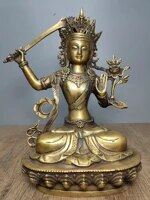 11tibet buddhism old bronze mosaic gem manjushri buddha statue guanyin bodhisattva with sword