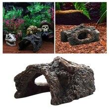 Escondendo Caverna réptil Répteis Casa Paisagem Decoração Ofício da Resina Do Aquário Para Aranha Escorpião Lagarto Réptil Acessórios