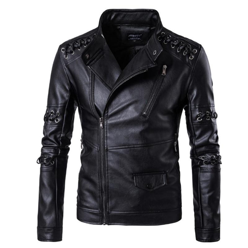 جديد تصميم وسيم الرجال السترات الجلدية أوروبا وأمريكا مضفر حبل دراجة نارية سترة جلدية الذكور معطف Jaqueta دي Couro