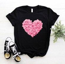 Roze hart bloem Print Vrouwen tshirt Katoen Casual Grappige t-shirt Gift 90s Lady Yong Girl Drop Ship PKT-894