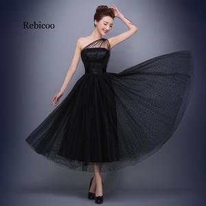 Black Dresses  Cheap One Shoulder Polka Dot Tulle Tea Length Party Gowns Vestido De Festa