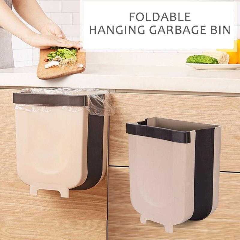Novo dobrável lata de lixo armário cozinha porta de lixo pendurado pode fixado na parede lixo bin carro wc armazenamento resíduos navio da gota