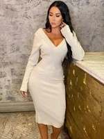 skmy 2021 new women clothing midi dress casual fashion v neck solid color long sleeve dress bodycon party sexy club outfits