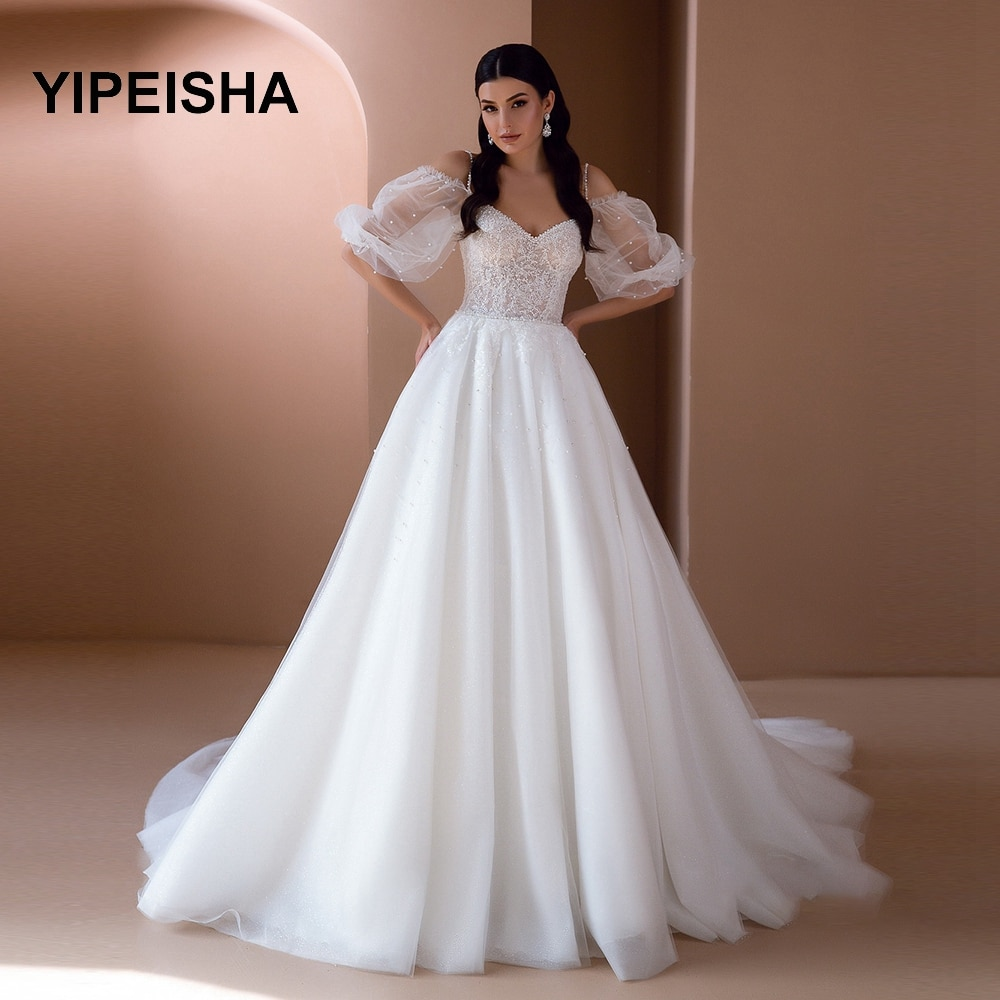 Get Boho IIIusion Wedding Dress Puff Sleeve Bridal Gowns Sweetheart Neck  Chapel Tarin  pearl  Vestido de novia